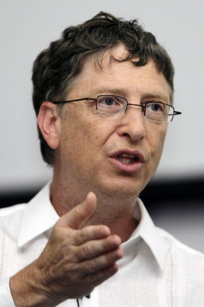 Microsoft chairman Bill Gates speaks during a conference.