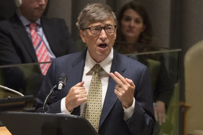 Microsoft founder Bill Gates speaks during the Millennium Development Goals event.