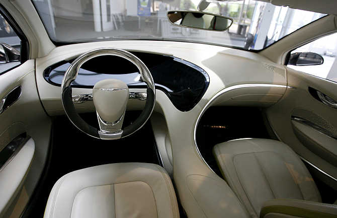 Interior of the Chrysler 200C concept car on display at the Walter P Chrysler museum in Auburn Hills, Michigan.