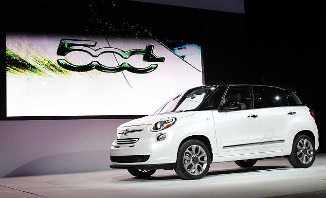 The 2013 Fiat 500L car on display in Los Angeles.
