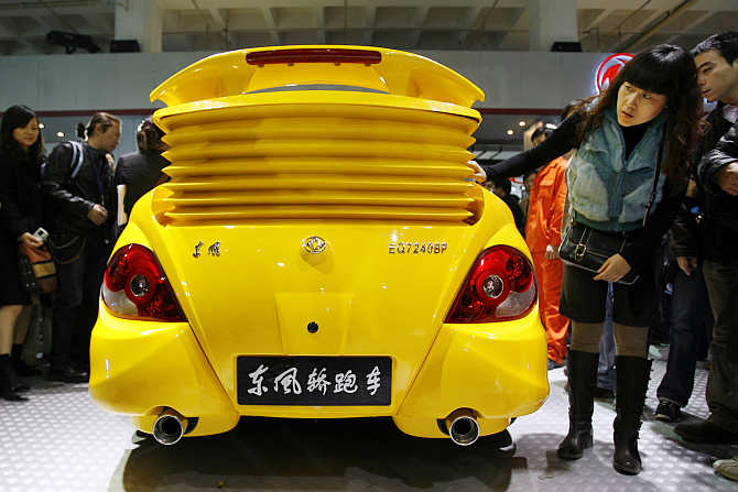A Dongfeng-made sports saloon on display in Beijing.