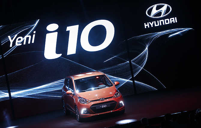 Hyundai i10 on display in Izmit, western Turkey.
