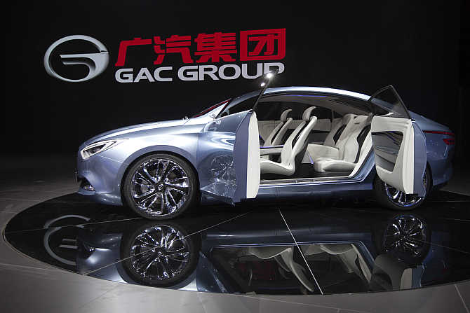 Guangzhou Automobile Group concept electric car called 'E Jet' on display in Guangzhou, China.