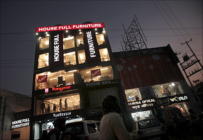 A furniture showroom is seen in Patna.