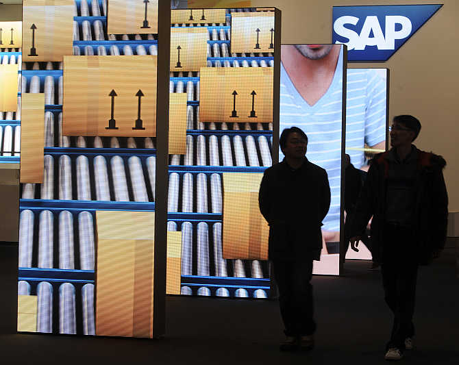 Booth of German company SAP at the CeBit computer fair in Hanover, Germany.