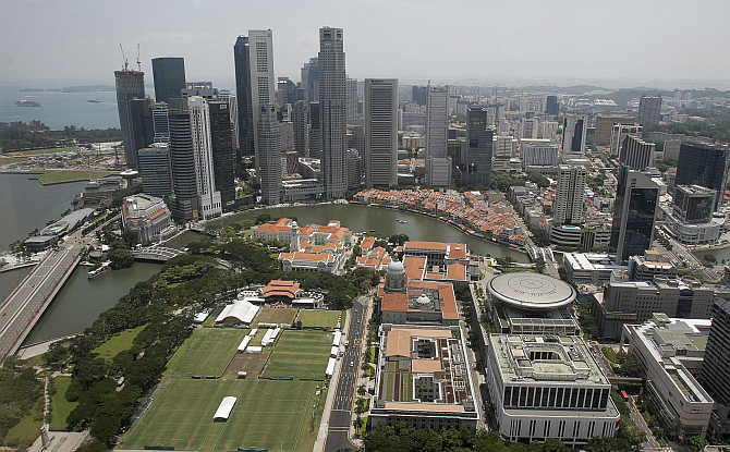 An aerial view of high rise buildings at the financial district in Singapore.