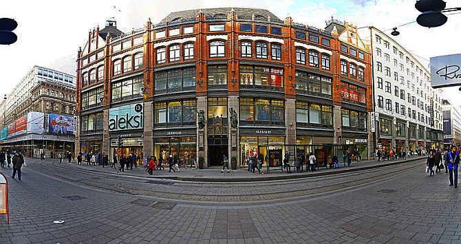 A view of the corner shop of Aleksi in Helsinki, Finland.