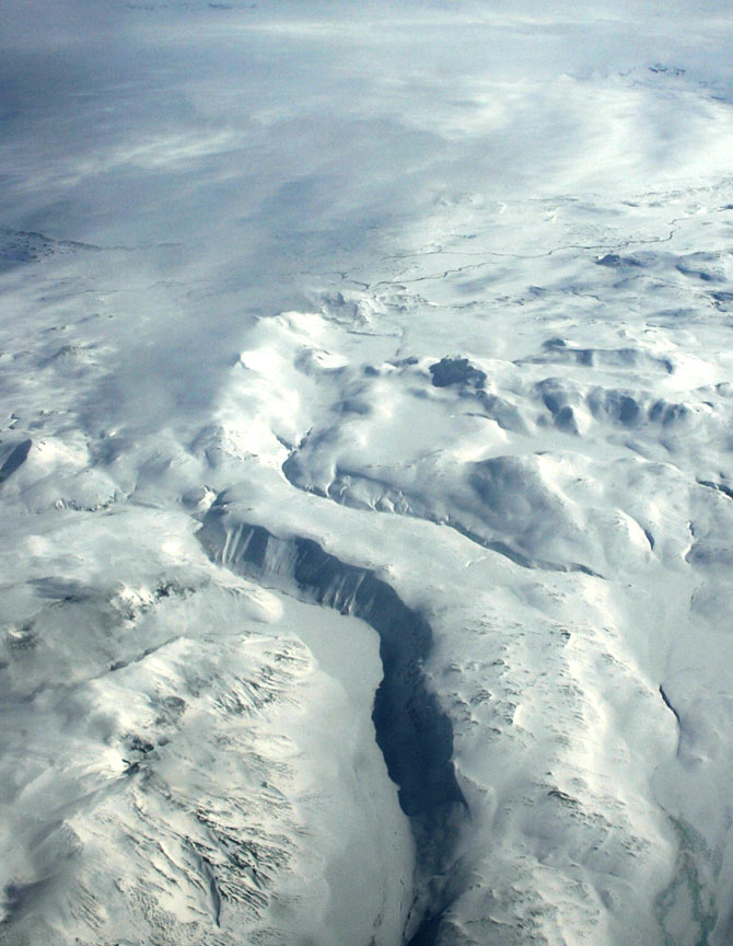 An aerial picture shows part of Europe's biggest glacier Vatnajokull, in south-eastern Iceland
