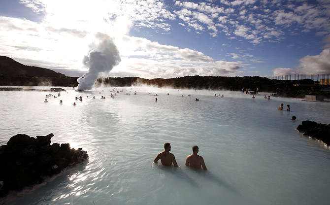 Bathers swim in the geothermal hot springs at Iceland's Blue Lagoon near Grindavik.