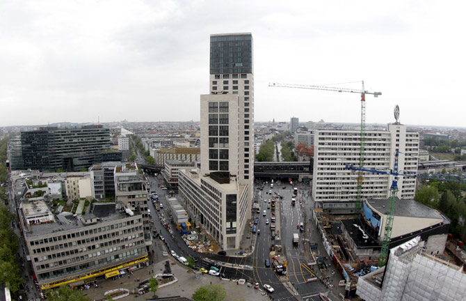 A general view shows the construction site of The Waldorf Astoria Berlin hotel.