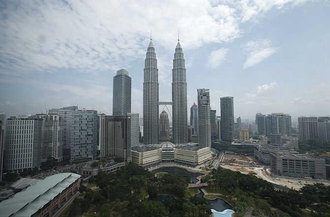 A view of Malaysia's landmark Petronas Twin Towers.
