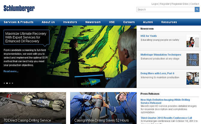 Homepage of Schlumberger.