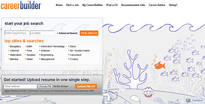 Homepage of CareerBuilder.