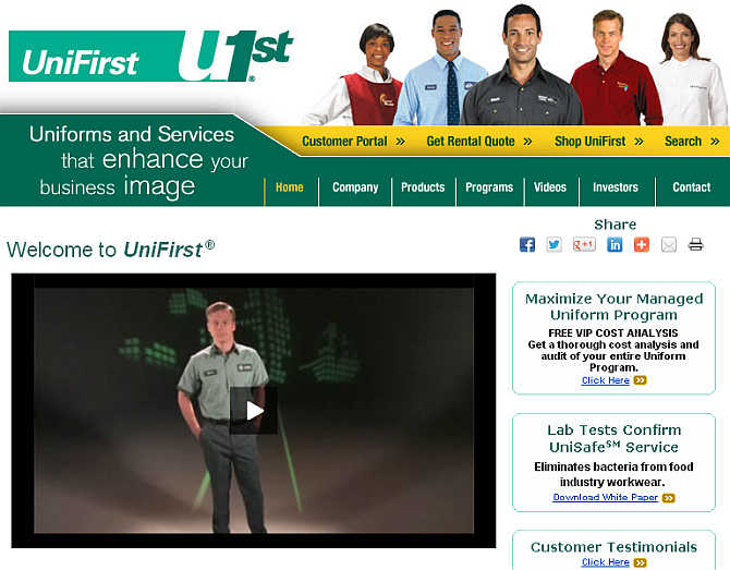 Homepage of UniFirst.