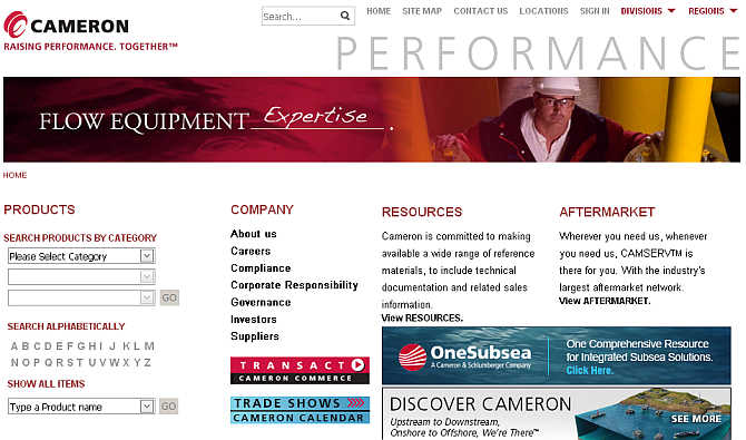 Homepage of Cameron International.