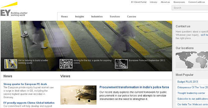 Homepage of Ernst & Young.