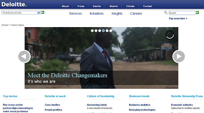 Homepage of Deloitte.
