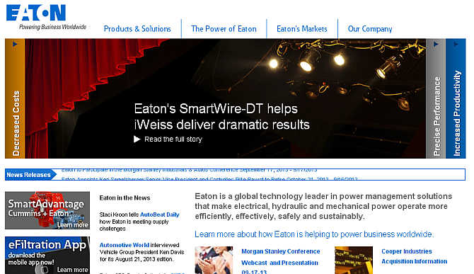 Homepage of Eaton.