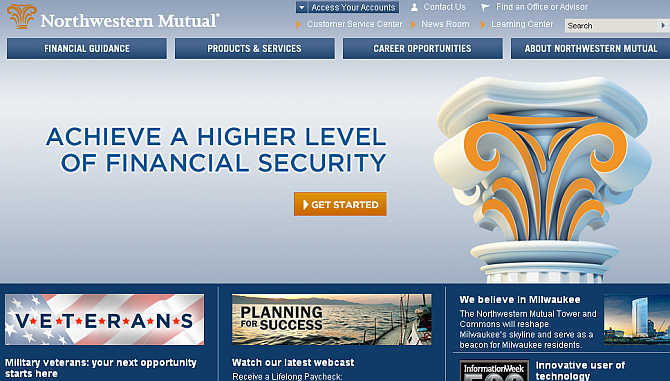 Homepage of Northwestern Mutual.
