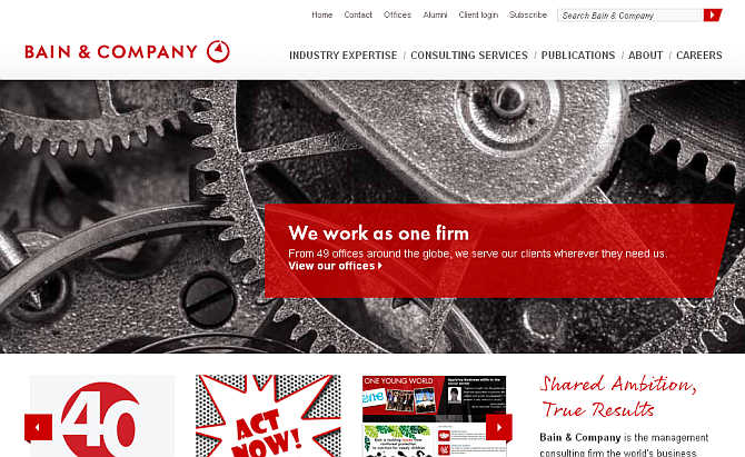 Homepage of Bain & Company.
