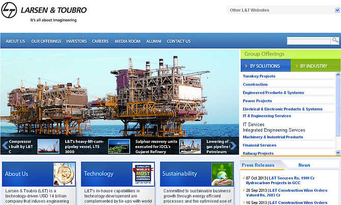 Homepage of L&T.