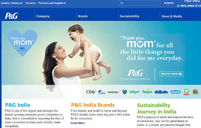 Homepage of Procter & Gamble.
