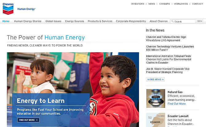 Homepage of Chevron.