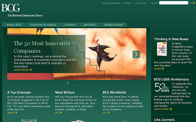 Homepage of Boston Consulting Group.