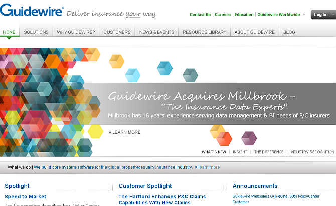 Homepage of Guidewire.
