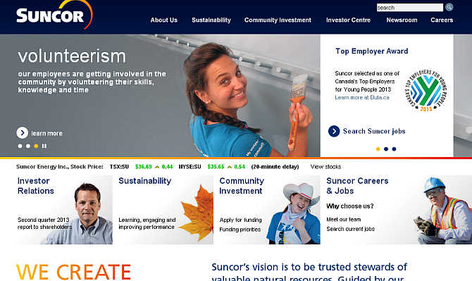 Homepage of Suncor.