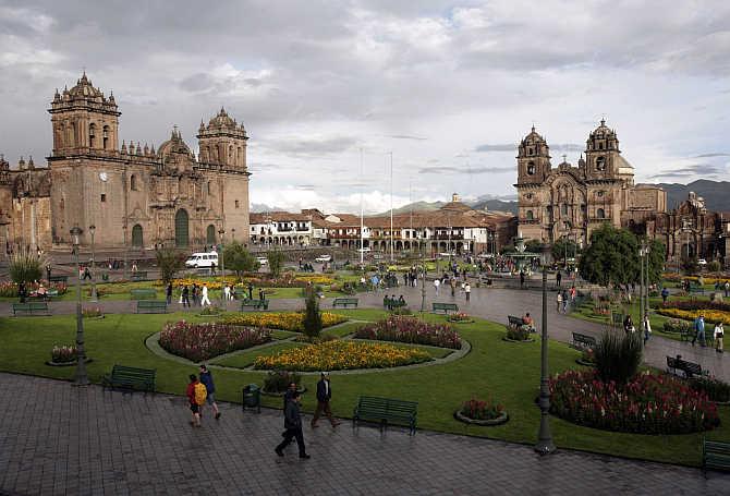 A view of the main plaza in Cuzco, Peru.