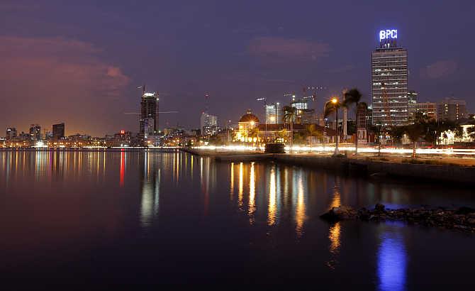 Dusk settles over the Angolan capital, Luanda.