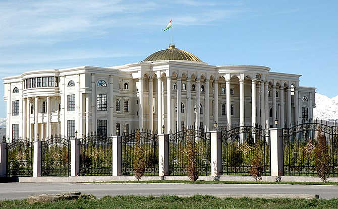 A view of the Presidential Palace in Dushanbe, Tajikistan.