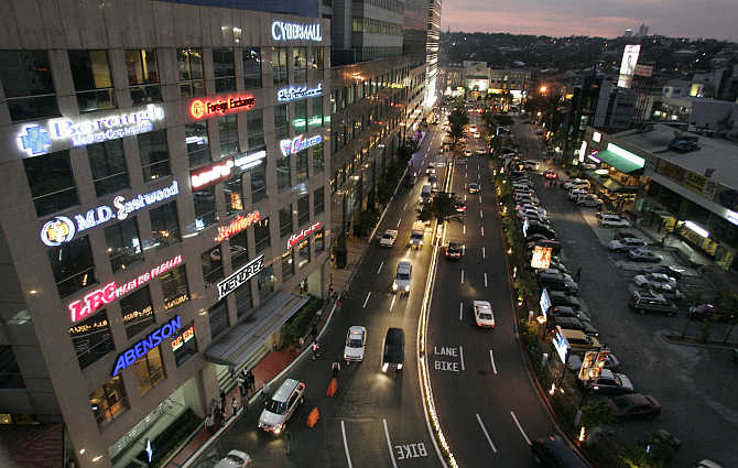 A view of Eastwood City near Manila, the Philippines.