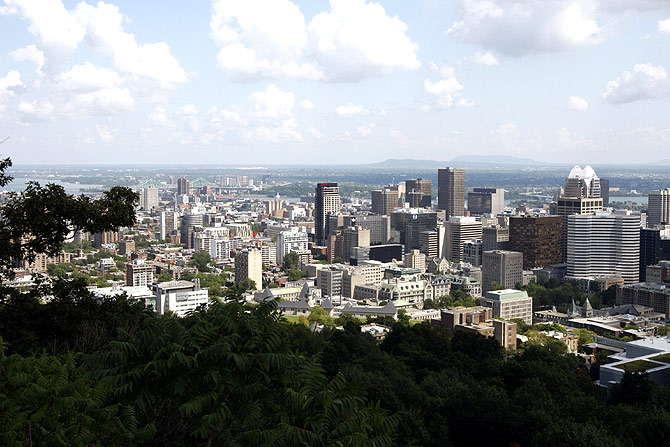 A view of downtown Montreal from the Kondiaronk Belvedere mountain top.
