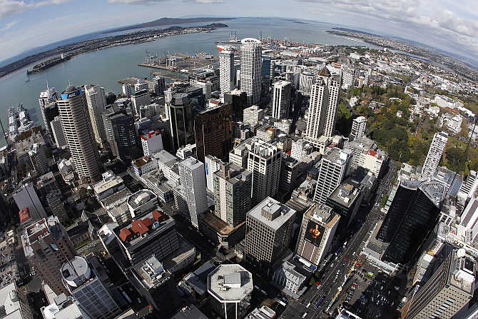 A view of Auckland City from atop the Sky Tower in New Zealand.