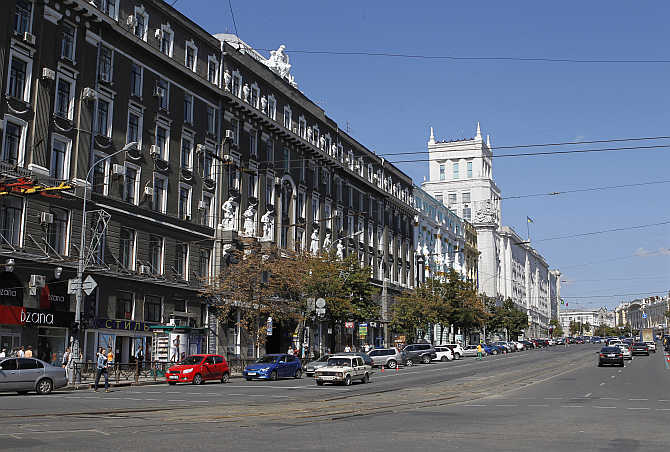 A view of central Kharkiv, Ukraine.