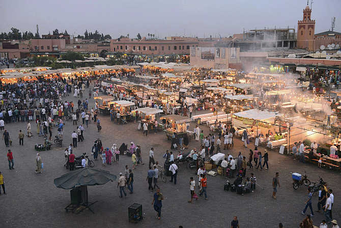 A view of Marrakesh's Jemma el-Fnaa square in Morocco.
