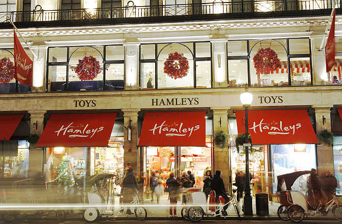A view of Hamleys toy shop in London, United Kingdom.