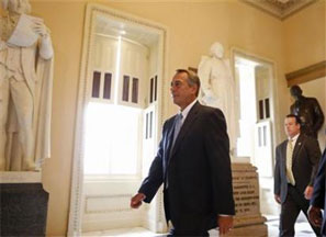 US Speaker of the House John Boehner walks towards the House floor on Capitol Hill in Washington. Photograph: Larry Downing/Reuters