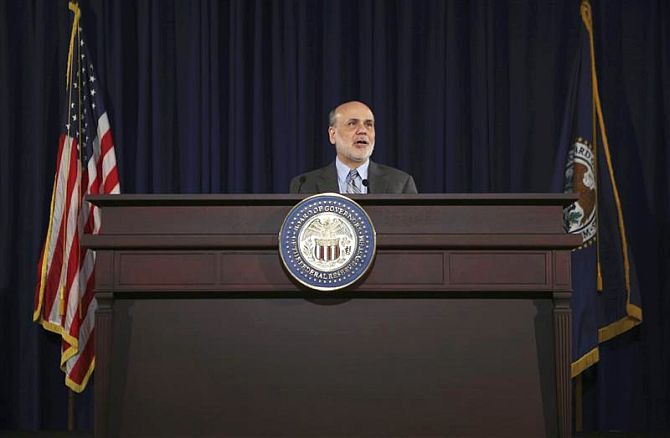 U.S. Federal Reserve Board Chairman Ben Bernanke holds a news conference following the Fed's two-day Federal Open Market Committee.