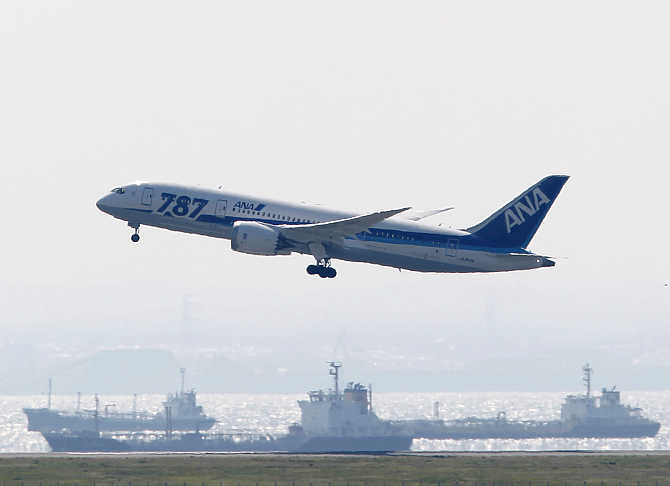 An All Nippon Airways's Boeing Co's 787 Dreamliner plane takes off for a test flight at Haneda airport in Tokyo.
