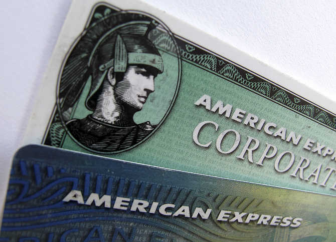 American Express and American Express corporate cards are pictured in Encinitas, California.