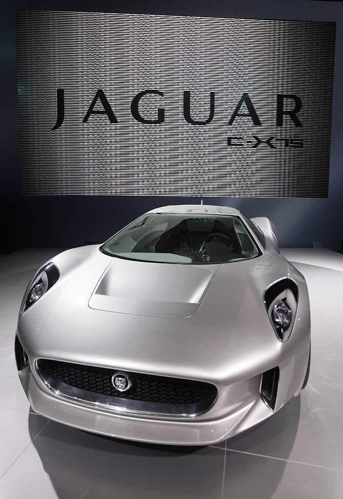 Jaguar C-X75 concept car on display in Paris, France.