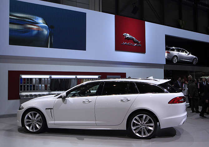 Jaguar XF Sportbrake model on display in Geneva, Switzerland.
