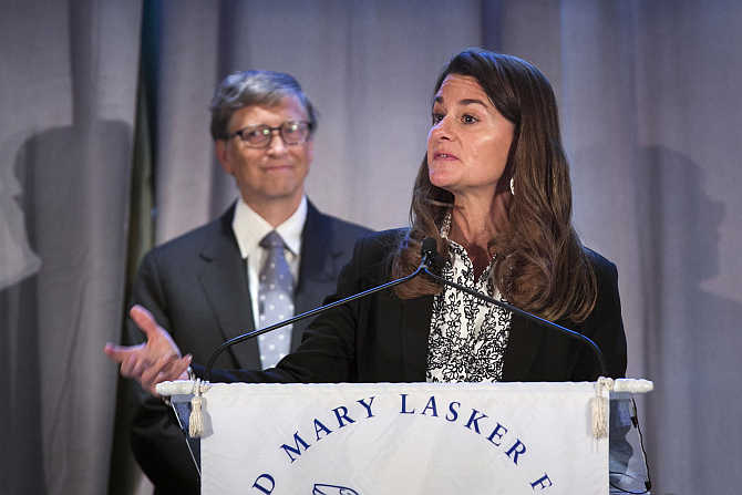 Melinda Gates speaks in front of her husband, Microsoft co-founder Bill Gates, in New York.