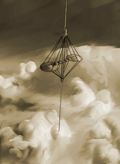An artist's impression of a space elevator climbing through the clouds.