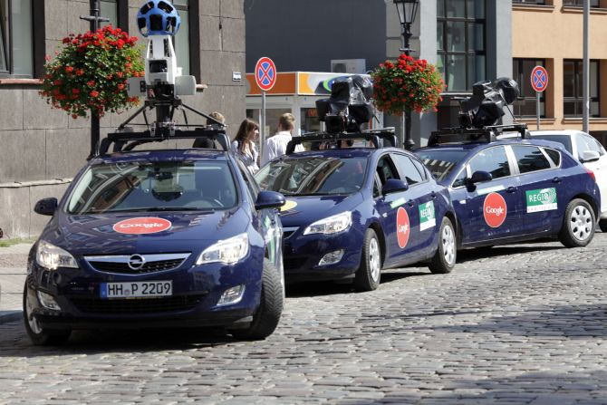 Google Street View cars are parked in Riga.