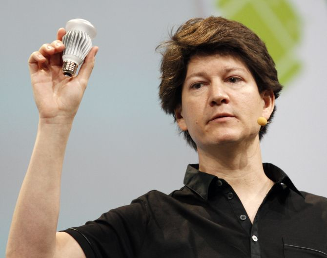 Joe Britt, engineering director, shows off a Smart LED light bulb, which can be controlled using Android devices during the keynote address at Google IO Developers Conference in San Francisco.
