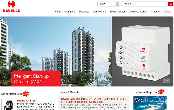 Homepage of Havells.